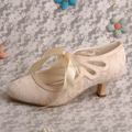 Wedopus Light Champagne Lace-up Wedding Shoes Bride May Jane Low Heels