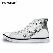 INSTANTAR Greyhound Dog Print Vulcanize Skor Män Höga Vancas Skor För Pojkar Student Andas Lace Up Sneakers Flats