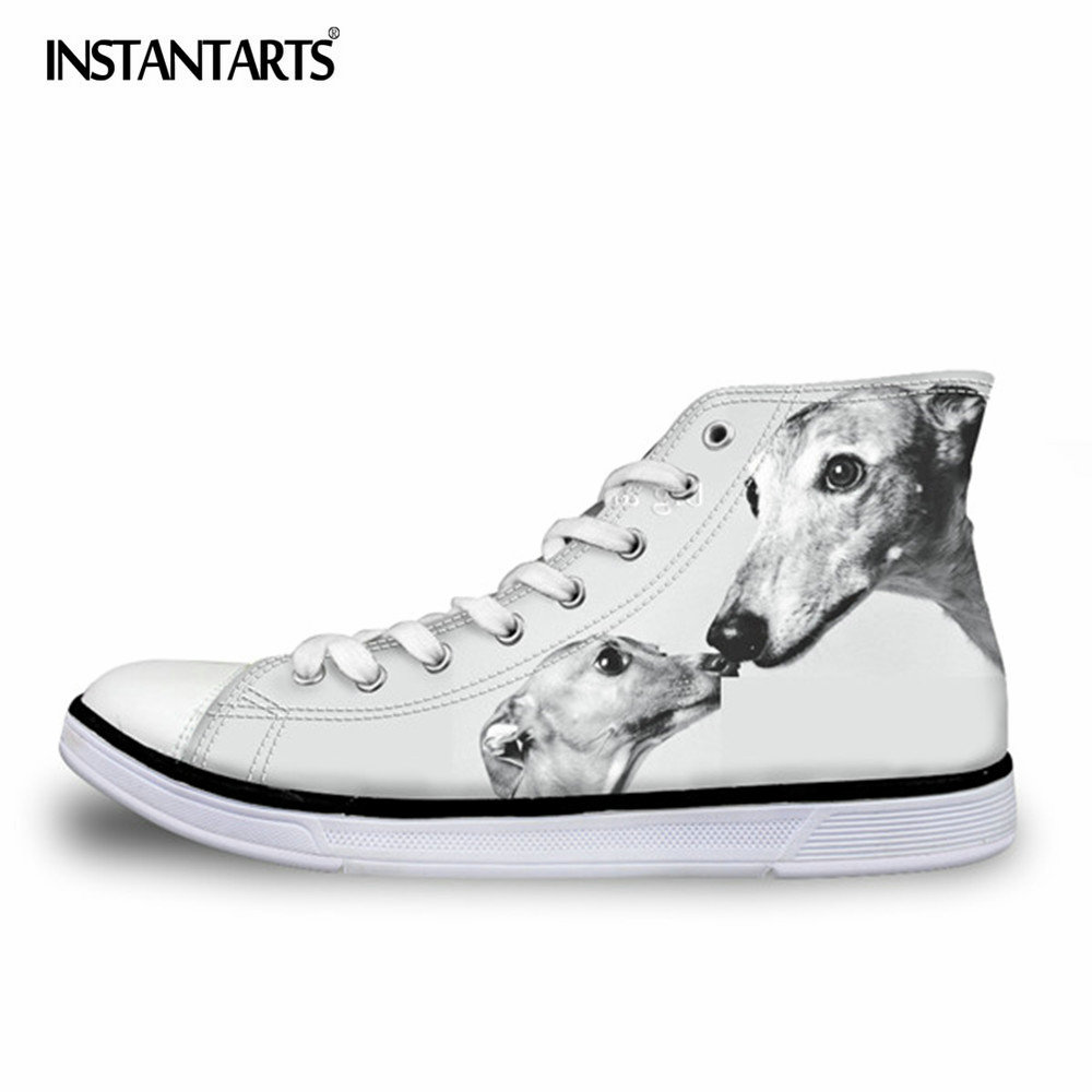 INSTANTARTS Greyhound Dog Print Vulcanize Shoes Men High Top Vancas Shoes for Boys Student Breathable Lace Up Sneakers Flats