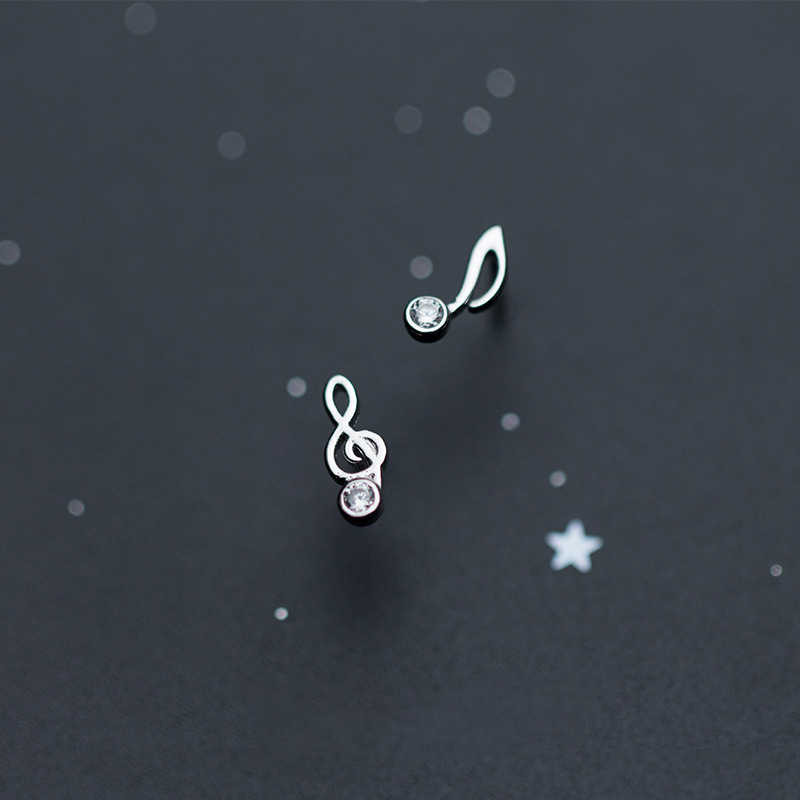 New Fashion Cute Lovely Musical Note 925 Sterling Silver Stud Earrings For Women Girls Earring Jewelry zilveren oorbellen 925