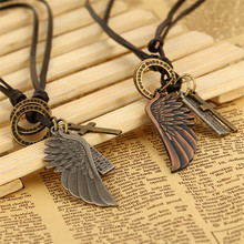 ZORCVENS European And American Popular Vintage Angel Wing Mens Leather Necklace Women Charms Necklaces & Pendants