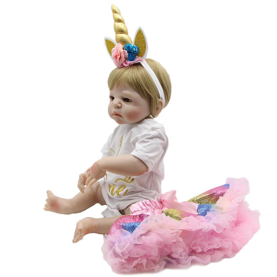 사랑 스럽다 23 ''전체 실리콘 reborn 아기 인형 collectible reborn menina 소녀를위한 현실적인 공주 생일 선물 3 색 머리카락-에서인형부터 완구 & 취미 의  그룹 3