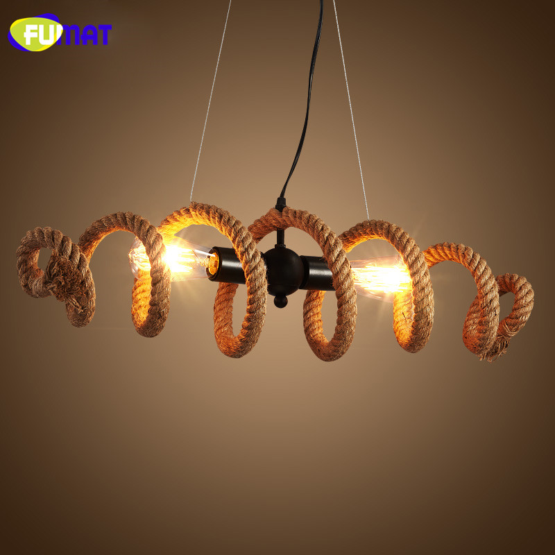 FUMAT Vintage Loft Hemp Rope Chandelier Cafe Bar Hanging Lamps Nordic Retro Industrial Light Fixtures Rope for Restaurant fumat loft hemp rope wall light american retro aisle corridor light creative bedroom beside light edison vintage industrial lamp