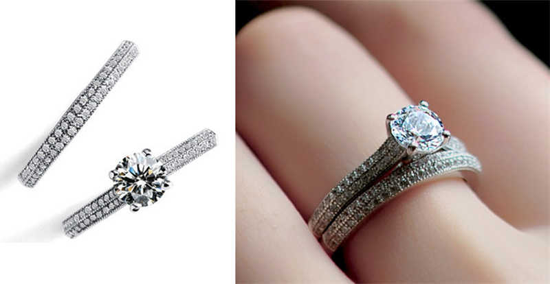 Enviado Certificado! Fine jewelry 100% original 925 anéis de prata conjunto para as mulheres zircão cúbico noivado anéis de casamento conjunto presente cr131
