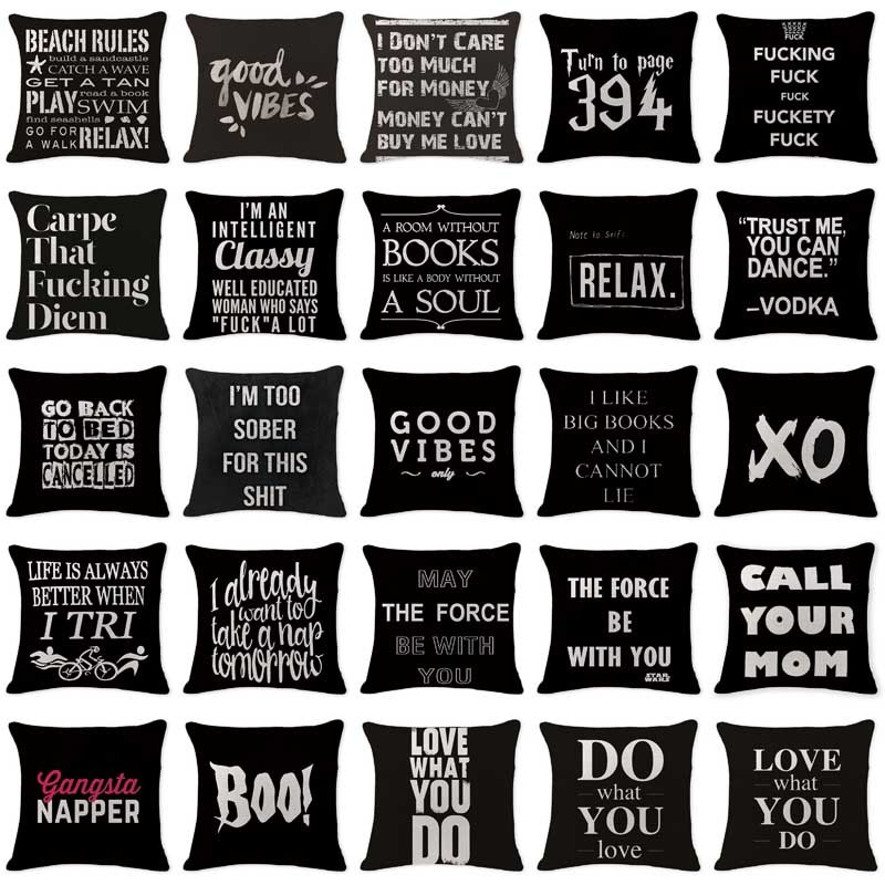 Customized Pillowcases Mid Century Modern Letter Black Cushions Cover Chair Cotton Linen Decor Home Xo Boo Throw Pillow Cover