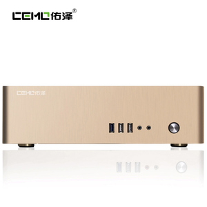 Image 2 - Aluminum Computer Case Horizontal MINI ITX HTPC Small Chassis Color  Black Silver Gold Support 1U Power Size 150 x 80 x 40 mm