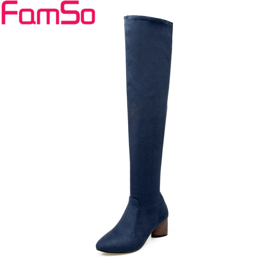 Plus Size 34 43 2016 New Retro Style Black Pointed toe Autumn Over the knee Boots