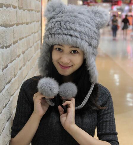 Novo inverno mulheres moda genuína gorro de pele de coelho com orelhas de urso bonito pele quente chapéu feito malha chapéu de pele suave com duas orelhas lindo chapéu