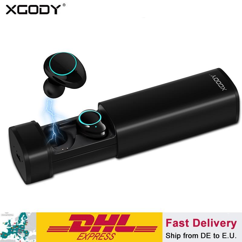 XGODY X9 TWS Bluetooth écouteurs V5.0 écouteurs avec micro sans fil 3D stéréo casque mains libres appels pour téléphone avec boîte de chargement