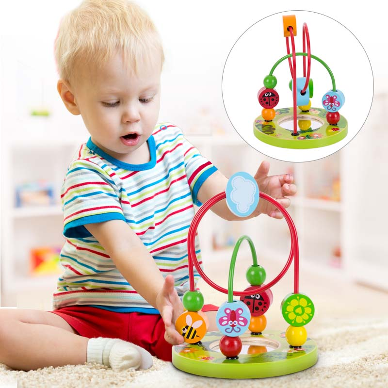 Baby Wooden Bead Maze Children Early Educational Roller Coaster Mirror Toy For Toddler PHOOHI