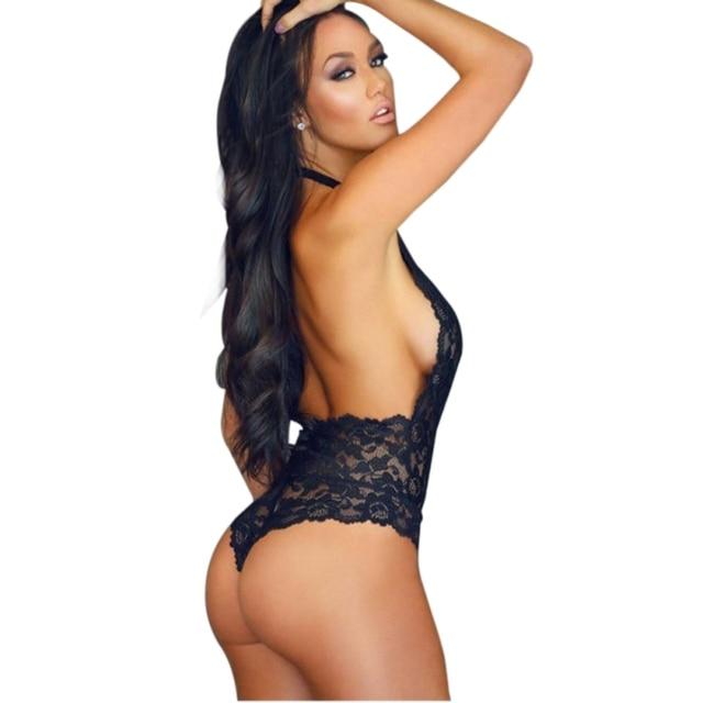 68235fc37bf Sexy Hot Women Floral Lace Body Suit One Piece V-neck Lingerie Erotic  Teddies Bodysuit Plus Size Porno Costume Intimates Black