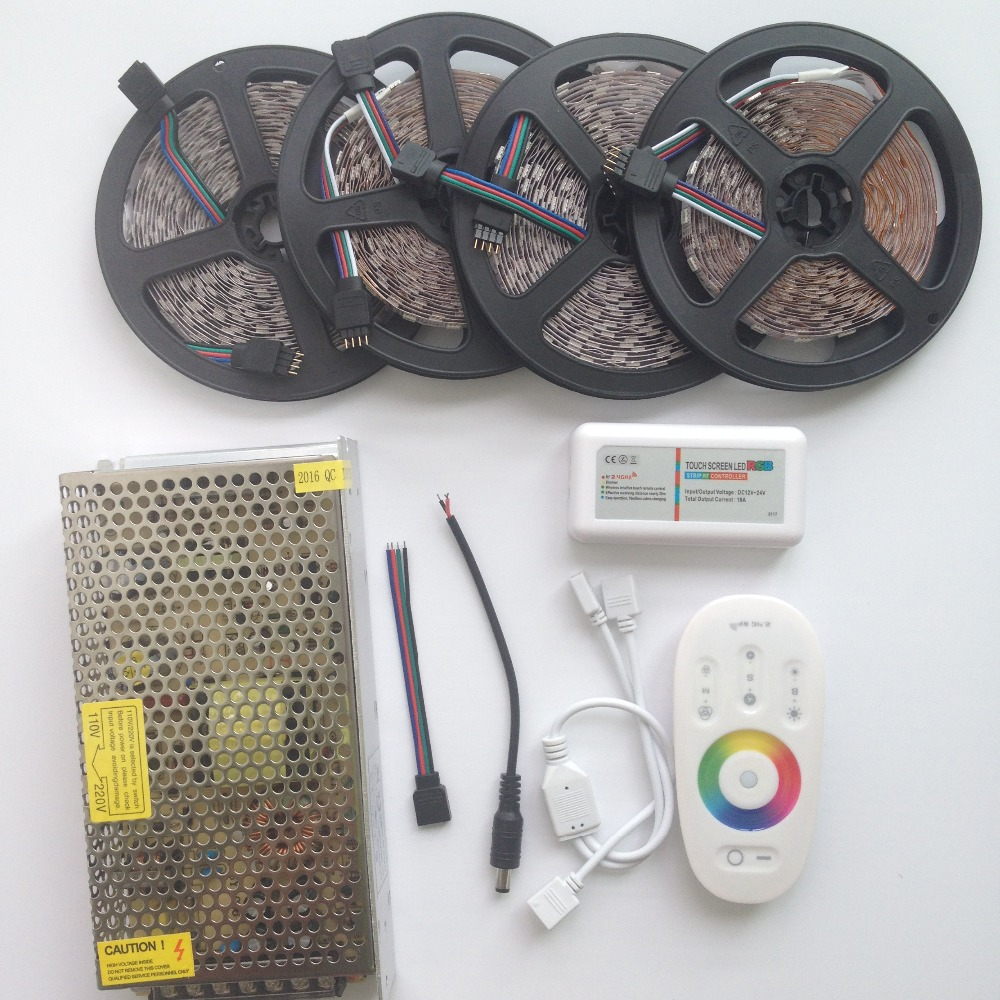 15m 20m RGB RGBW led strip Waterproof IP68 5050 2835 tape ribbon 12V 10m + RF Remote Controller + Power adapter Kit Free ship wifi 20m mi light led strip ribbon rgbw rgb 5050 12v waterproof 4pcs controller 4 zone rf remote power adapter free shiping