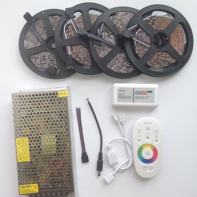 15m 20m RGB RGBW led strip Waterproof IP68 5050 2835 tape ribbon 12V 10m + RF Remote Controller + Power adapter Kit Free ship