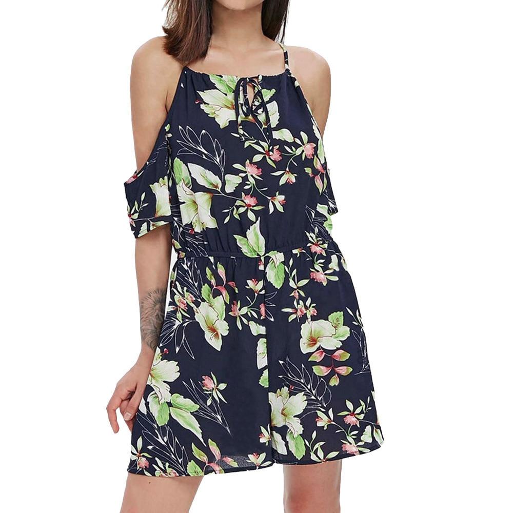 Summer Bodysuit Casual Beach Cloth Women O-Neck Printing Short Sleeve Princess Summer Cloth