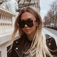 ROYAL GIRL Pearl Cat Eye Sunglasses Women 2019 Brand Designer Oversized Retro Eyewear for Female Half Rimless UV400 SS619