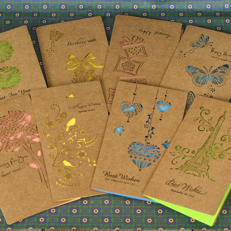 paper kraft greeting cards with envelope8 designs laser
