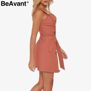 Image 5 - BeAvant sexi Vestido corto de algodón con escote en pico, vestido de mujer sin espalda en negro con banda y botones, de corte a vestido ajustado, Vestido corto sin mangas para club de mujer