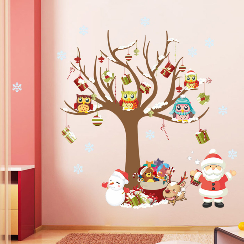 tree wall sticker owl on the tree Santa Claus Snowflake gift PVC interior for kids rooms Christmas decoration wall decals