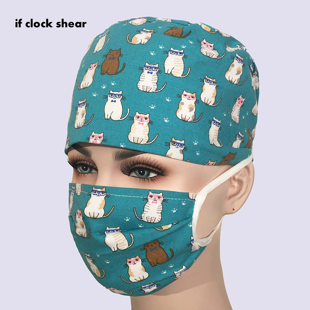 New Unisex Printing Clinic Work Hat Beauty Men's Surgical Cap Practice Nurse Cap Medical Hat Hospital Doctor Aboratory Printing