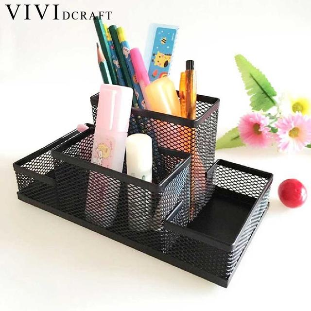 Craft Office Organizer Metal Cosmetic Pencil Pen Holders Stationery Container Supplies Desk Accessories Stand