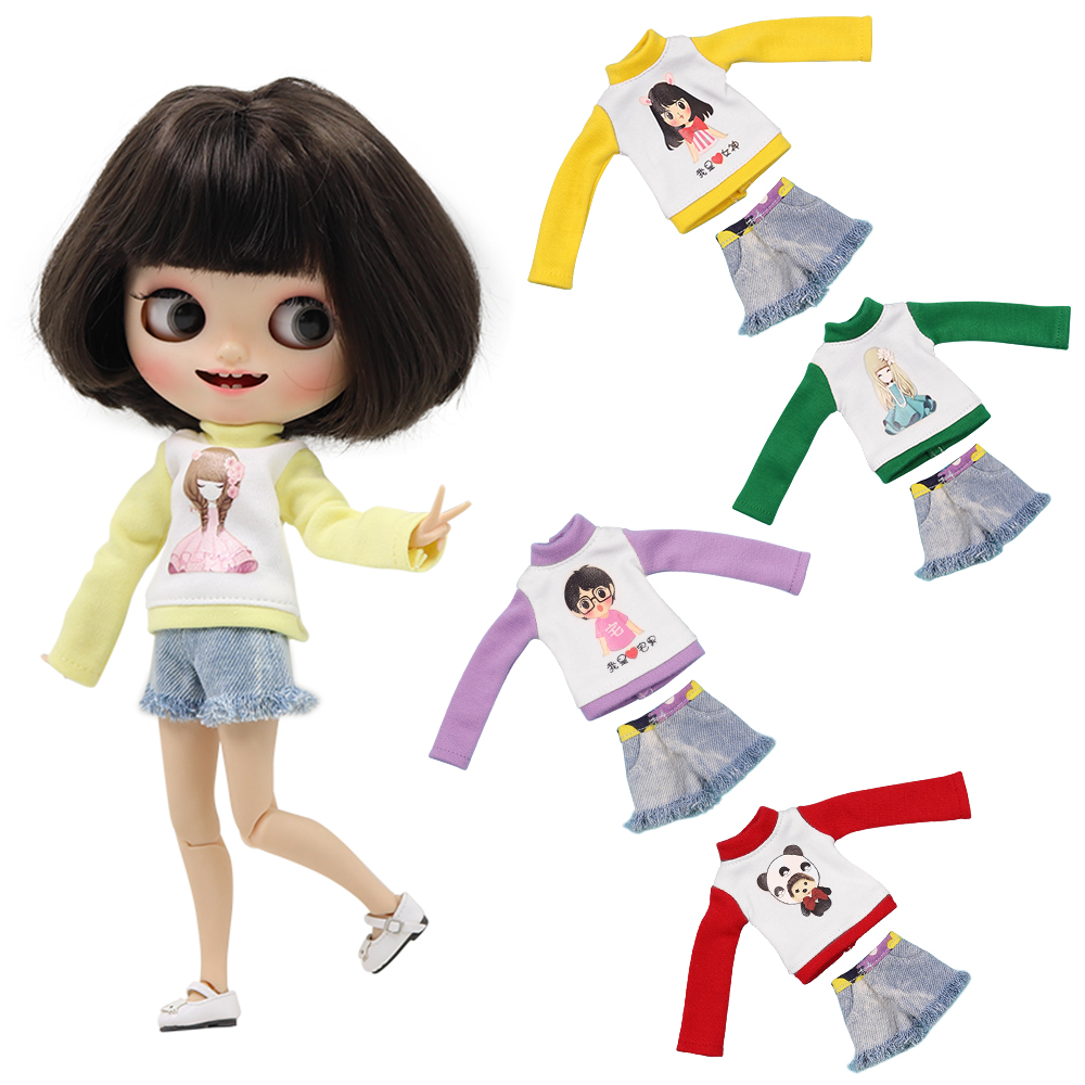 1/6 Blyth Doll Icy Licca Body Bjd New Casual Long Sleeve Wild Sport Style, Only Suit No Doll