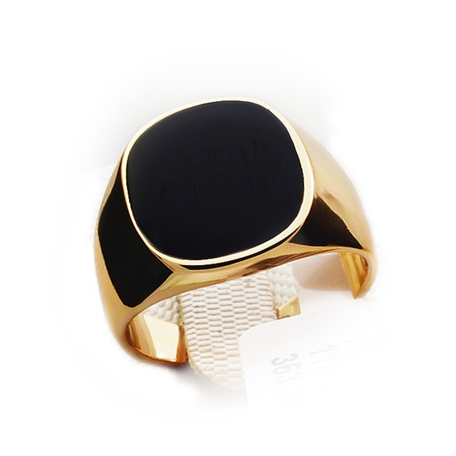 Punk hombres plata Rosa oro anillos hombre moda boda joyería cuadrado negro Vintage joyería Boho regalos para hombres marca Italina