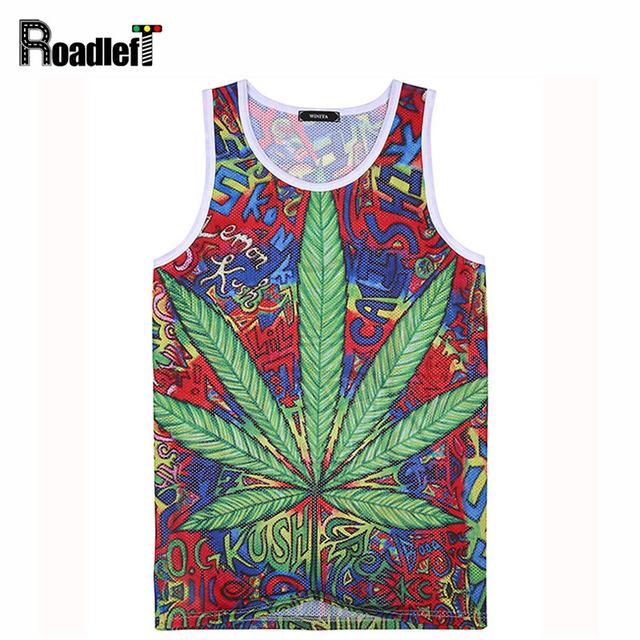 2016 nuevos Hombres marca moda casual entrenamiento 3D weed camiseta tops hoja de cáñamo de Los Hombres de hip hop camisetas sin mangas tee, 3 color