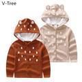 Spring Autumn Winter Girls Cotton Sweater Children Long Sleeve Cardigan Toddler Warm Knitted Coat Baby Kids Cartoon Beer Cloth