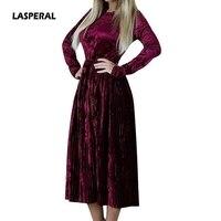 LASPERAL 2018 Spring Autumn Women Velvet Dress Long Sleeve O Neck Vintage Retro Dresses Elegant Party