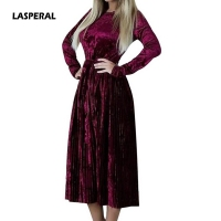 LASPERAL 2018 Spring Autumn Women Velvet Dress Long Sleeve O Neck Vintage Retro Dresses Elegant Party