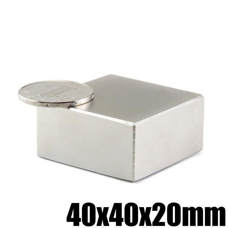 1 Pezzo 40x40x20mm Blocco Magnete Al Neodimio N52 Permanente Al Neodimio Super Forte Potente Magneti Magnetici di Ricerca magnete