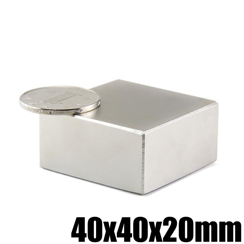 1 unidades 40x40x20mm bloque de imán de neodimio permanente N52 NdFeB poderoso fuerte estupendo magnético imanes búsqueda imán