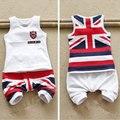 Crianças de verão crianças roupas sem mangas de algodão traje marca de bandeira de inglaterra