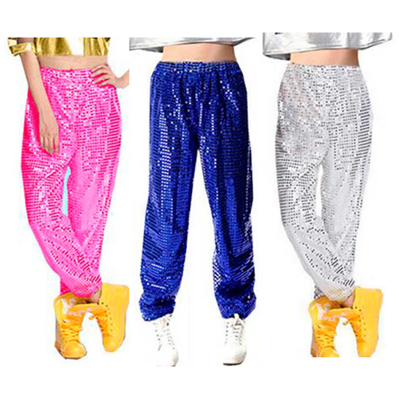 Women men club Sequin Jazz Stage Hip hop hiphop dance costume long pants trousers for women men fashion clothing Plus size 3XL