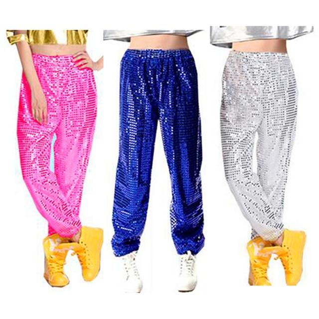 341bb004fe9c1 Mujeres Hombres club lentejuelas Jazz etapa Hip hop hiphop danza traje  pantalones largos pantalones para Mujeres