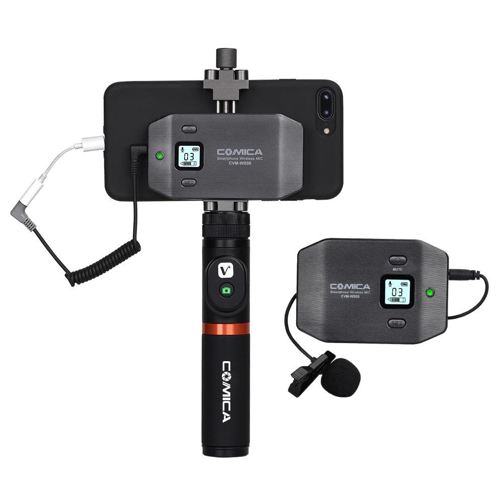 COMICA CVM-WS50 (A) UHF-Channel Lavalier Wireless Smartphone Sistema Microfono con Telecomando Bluetooth Grip per iPhone Samsung