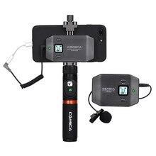 COMICA CVM WS50 (A) UHF sistema de micrófono de teléfono inteligente inalámbrico Lavalier de 6 canales con control remoto Bluetooth para iPhone Samsung