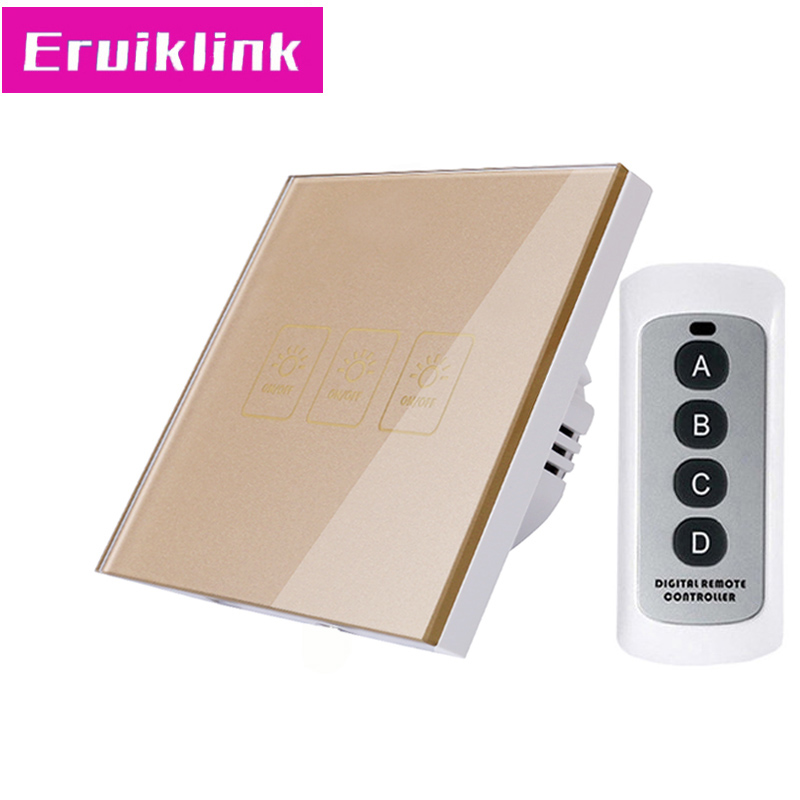 Купить с кэшбэком EU/UK Standard 1/2/3 Gang 1 Way RF433 Remote Control Wall Switch,White Crystal Glass Touch Light Switch 220V for Smart Home