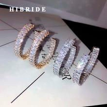 HIBRIDE сверкающие серьги-кольца с кубическим цирконием для женщин, ювелирные изделия, белый круг цвет золотой, серьги, бижутерия, E-887