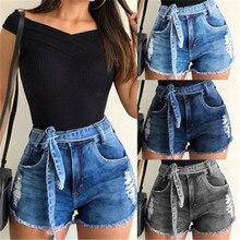 дешево!  Летний ремень эластичные узкие женские джинсовые шорты с высокой талией женские джинсы повседневны�