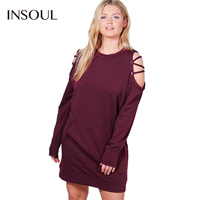 INSOUL Fashion Women Plus Size Casual Cottons Dress Cut Out Lace Up Cold Shoulder  Leisure Autumn Solid Mini Dress