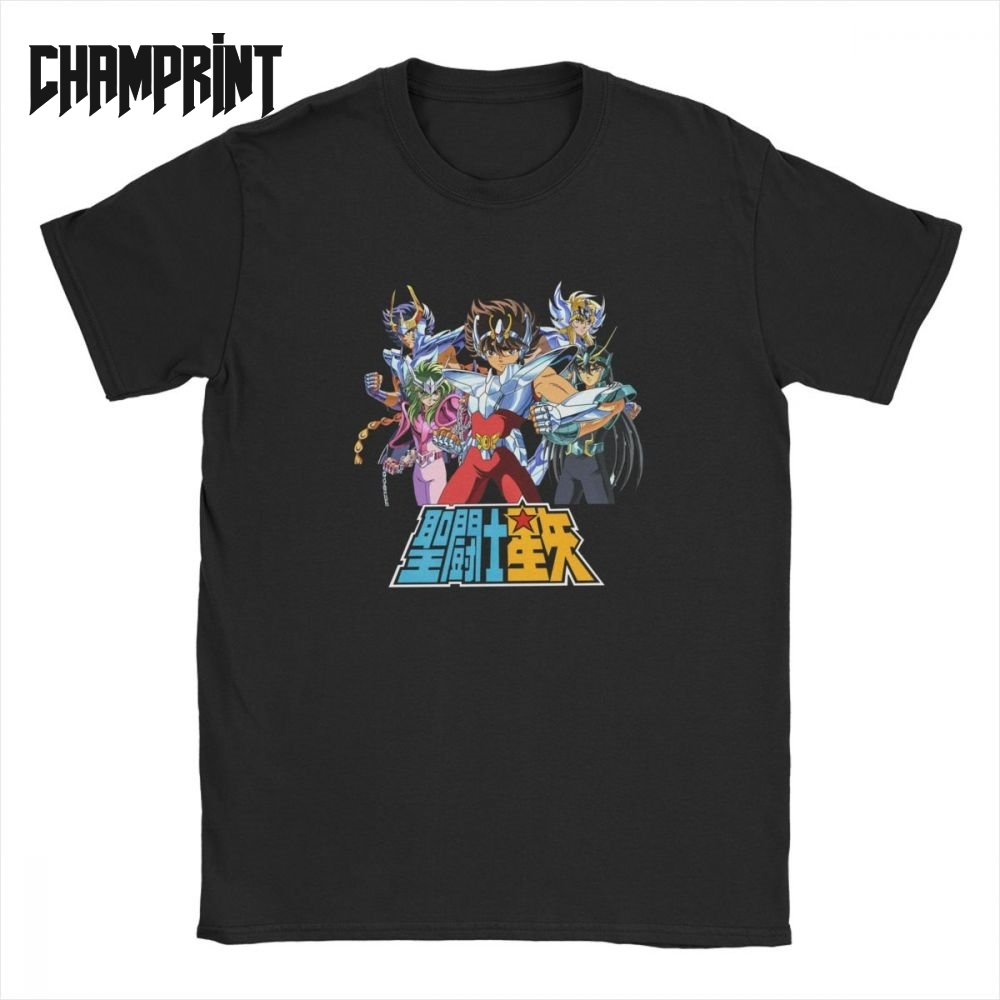 Men's Saint Seiya T Shirts Knights Of The Zodiac Saint Seiya 90s Anime Pure Cotton Short Sleeve Tee Shirt Summer T-Shirt