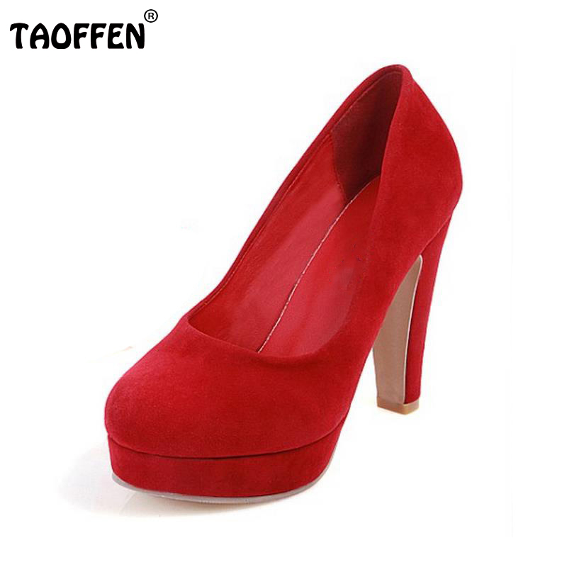 TAOFFEN Women High Heels Shoes Women Thin Heeled Pumps Round Toe Shoes Women Platform Weeding Party Sexy Footwear Size 34-39 lady red shoes heels women pumps fashion suede high heels ladies wedding shoes platform round toe sexy footwear g752