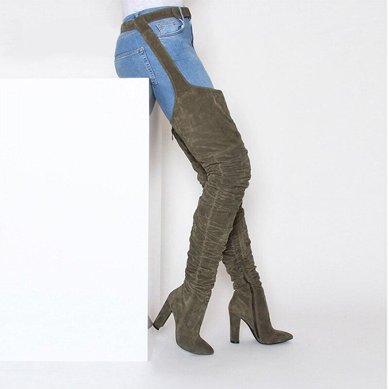 Moda Las Slim Invierno Militar Bloque Rodilla Cuero De Larga Calidad Gamuza Tacones Negro Más Mujeres La Botas Imitación Confort verde Apretado ZTqwI