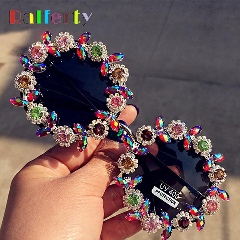 Ralferty Luxury Ladies Sunglasses Women Handmade Round Crystal Flower Sun Glasses Vintage Rhinestone Shades Festival Eyewear