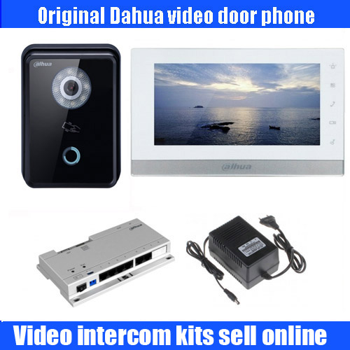 Original dahua english DH-VTH1550ch 7 Color Monitor with outdoor DH-VTO6210B IP Villa Outdoor POE IP Video Intercom sysytem ...