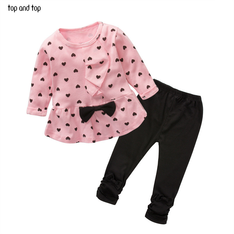 2017 New Baby Girl Set Heart-shaped Print Bow Cute 2PCS Kid Set T shirt + Pants Cute Princess Kids Clothing Set Newborn Clothing 2pcs baby clothing set girl child kid polka dot t shirt tops pink pants shorts