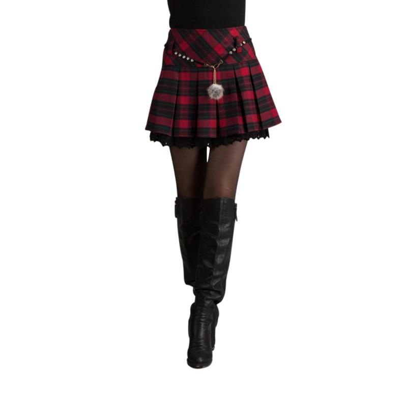 2019 New Red Black Falda Student Jupe Girls Fashion High Waist Pleated Mini School Skirt Hot