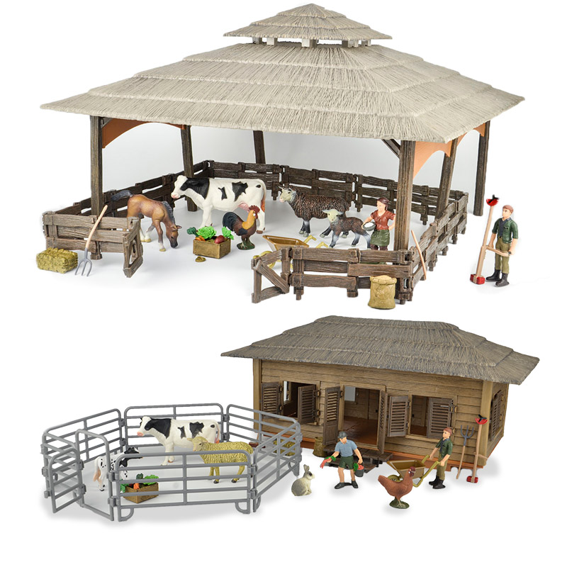 Wild Zoo Large Farm House Animals Figures Farmer Breeder Corral Fence Feed Horse Stable Cleaning Kits Toys Children Gift