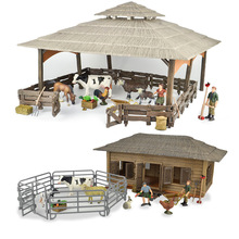 Wild zoo large farm house animals figures Farmer Breeder Corral fence feed horse stable cleaning kits toys children gift недорого